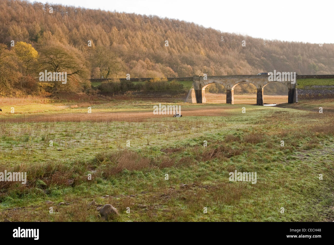 Lindley Wood Reservoir during a period of drought. - Stock Image