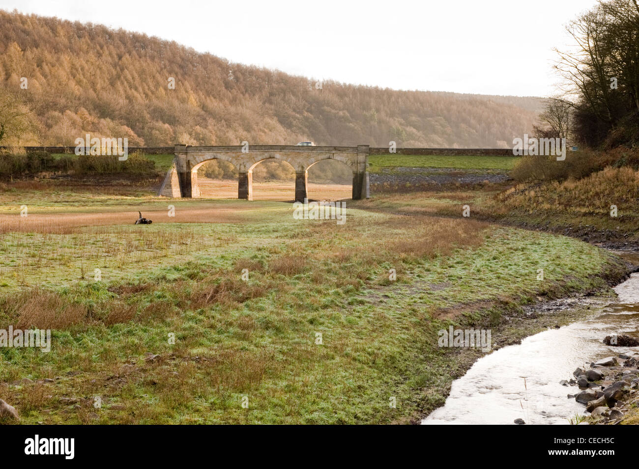 Lindley Wood Reservoir showing extremely low water levels. - Stock Image