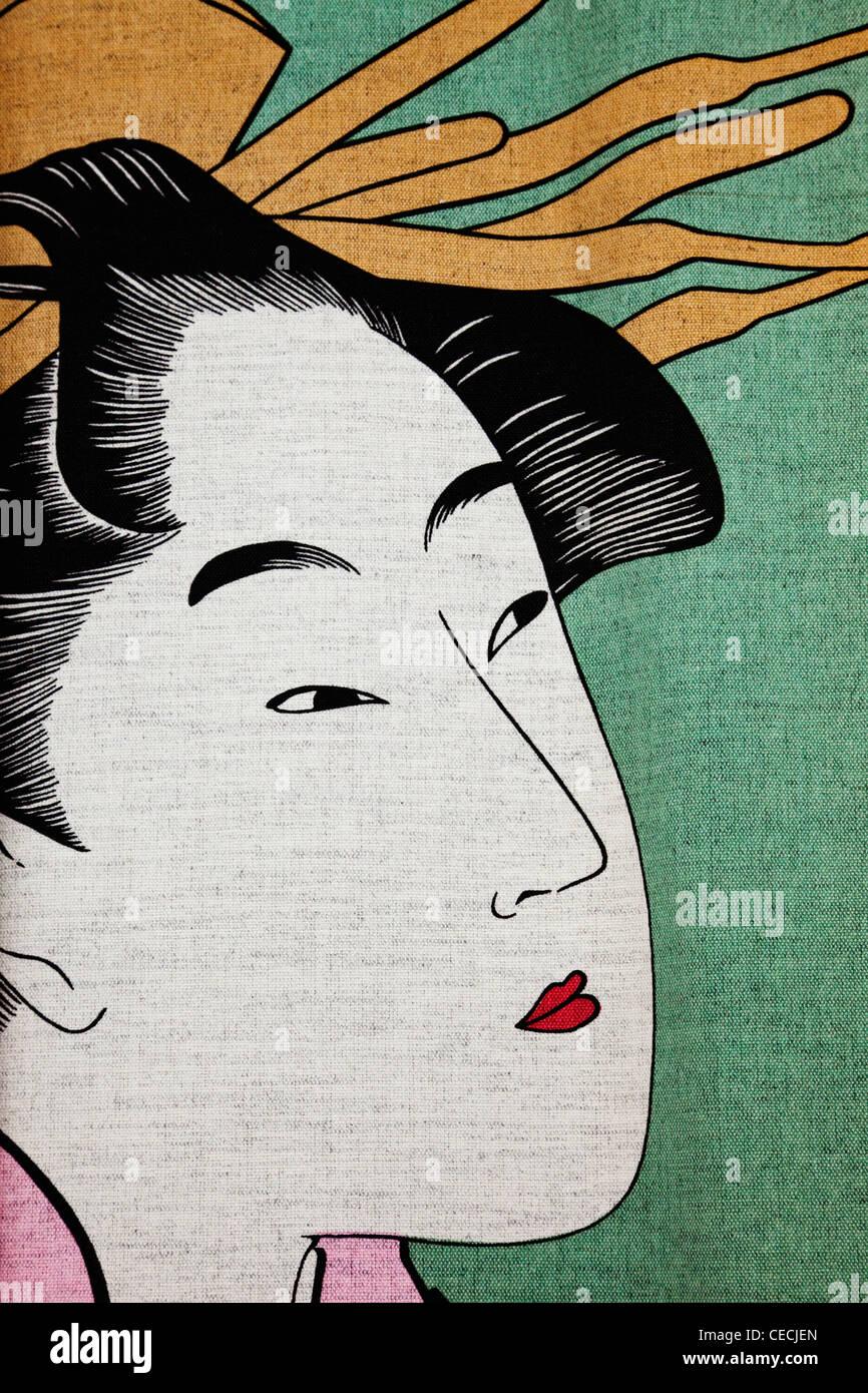 Detail of Ukiyo-e Painting depicting a Geisha. - Stock Image