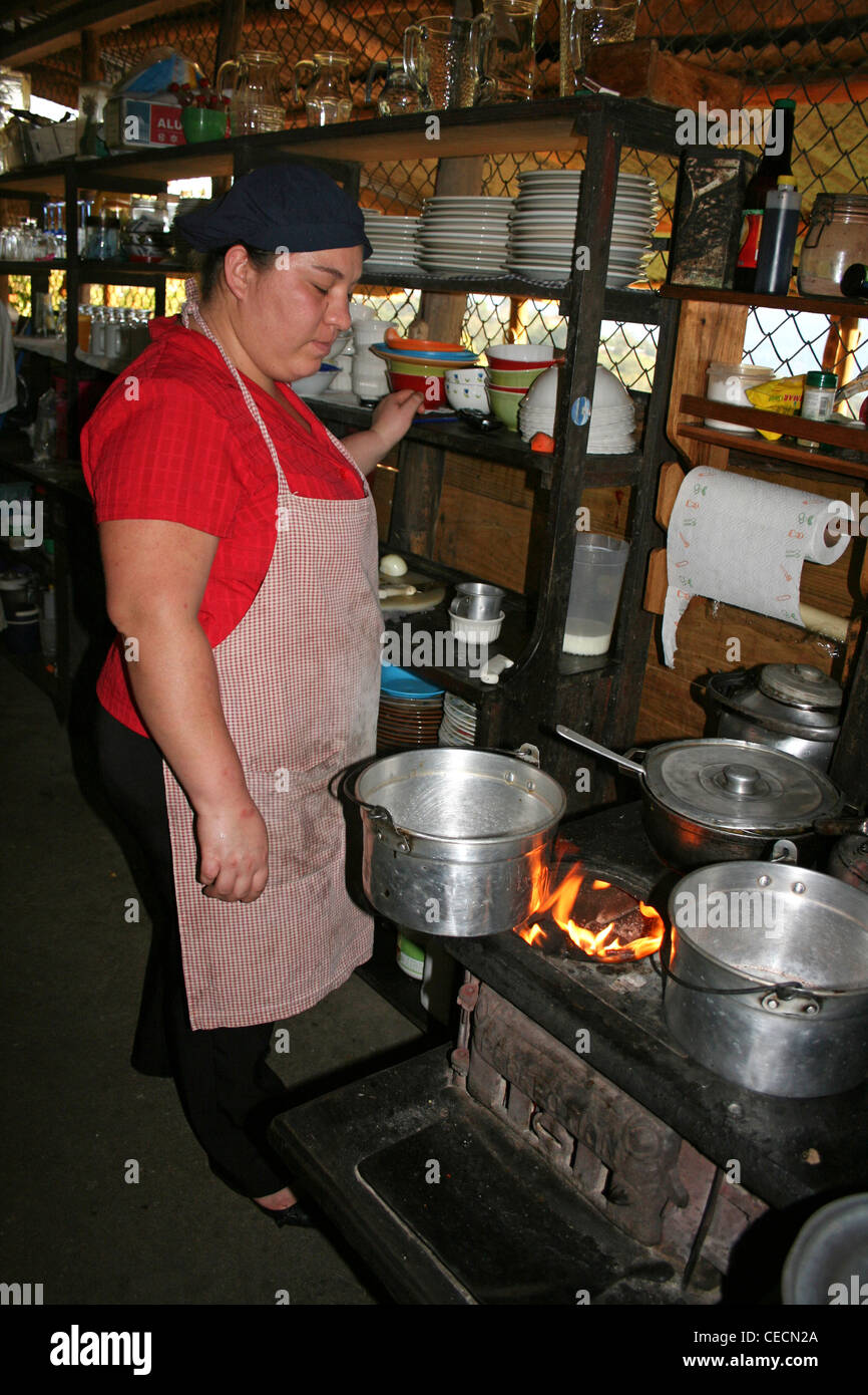 Young Costa Rican Woman Cooking In The Family Kitchen - Stock Image