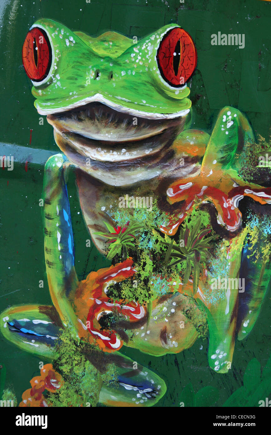 Red-eyed Treefrog Painting In Tortuguero Village - Translates as 'Land of Turtles', Costa Rica - Stock Image