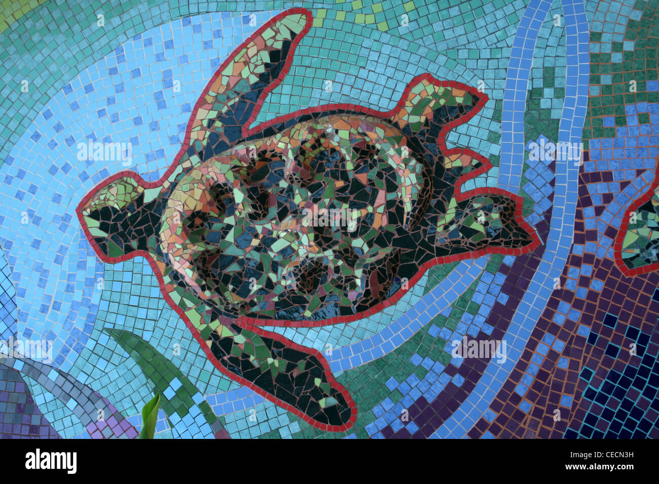 Turtle Mosaic Mural In Tortuguero Village - Translates as 'Land of Turtles', Costa Rica - Stock Image