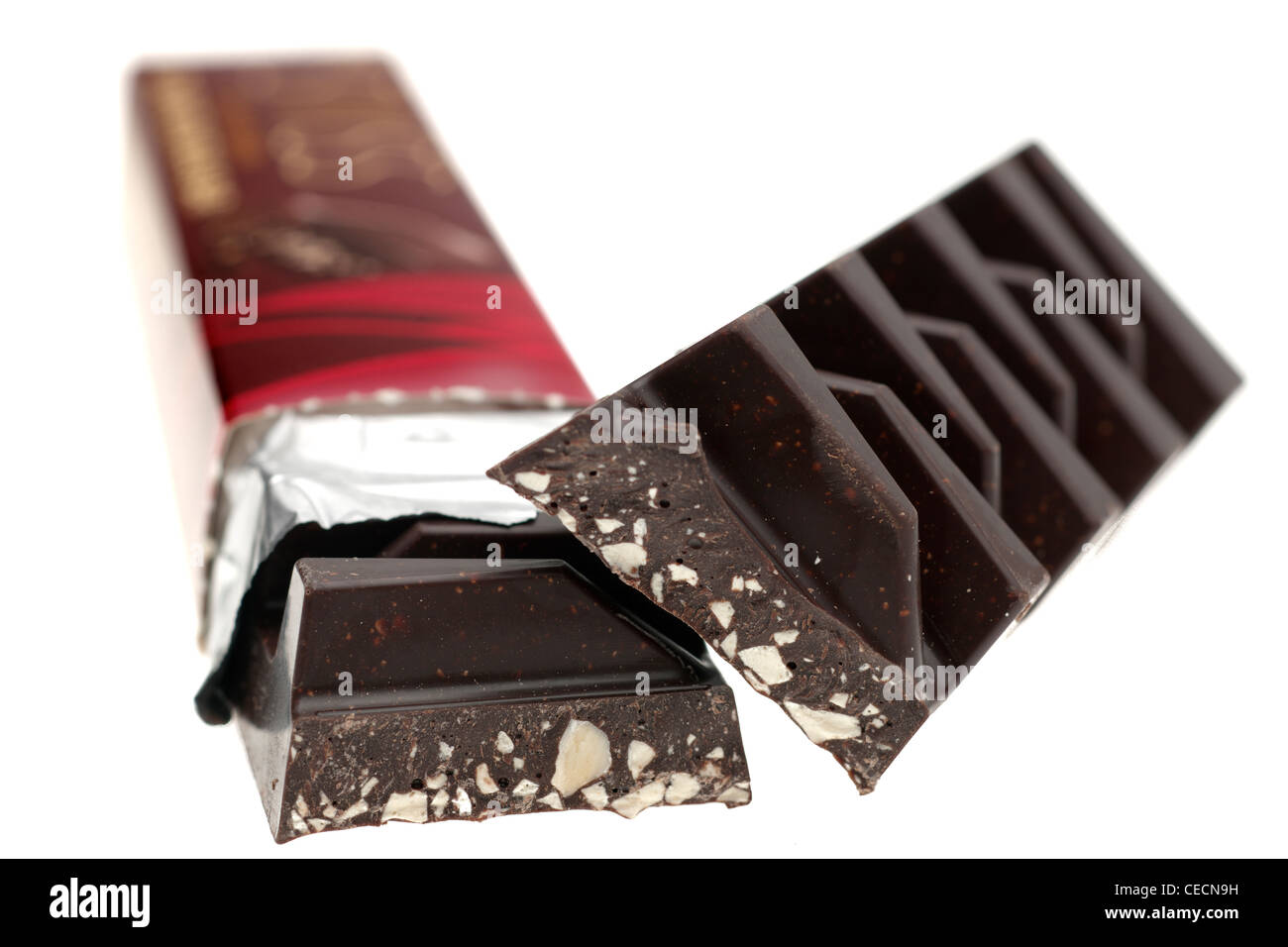 Chunky dark chocolate with almond nougat pieces - Stock Image