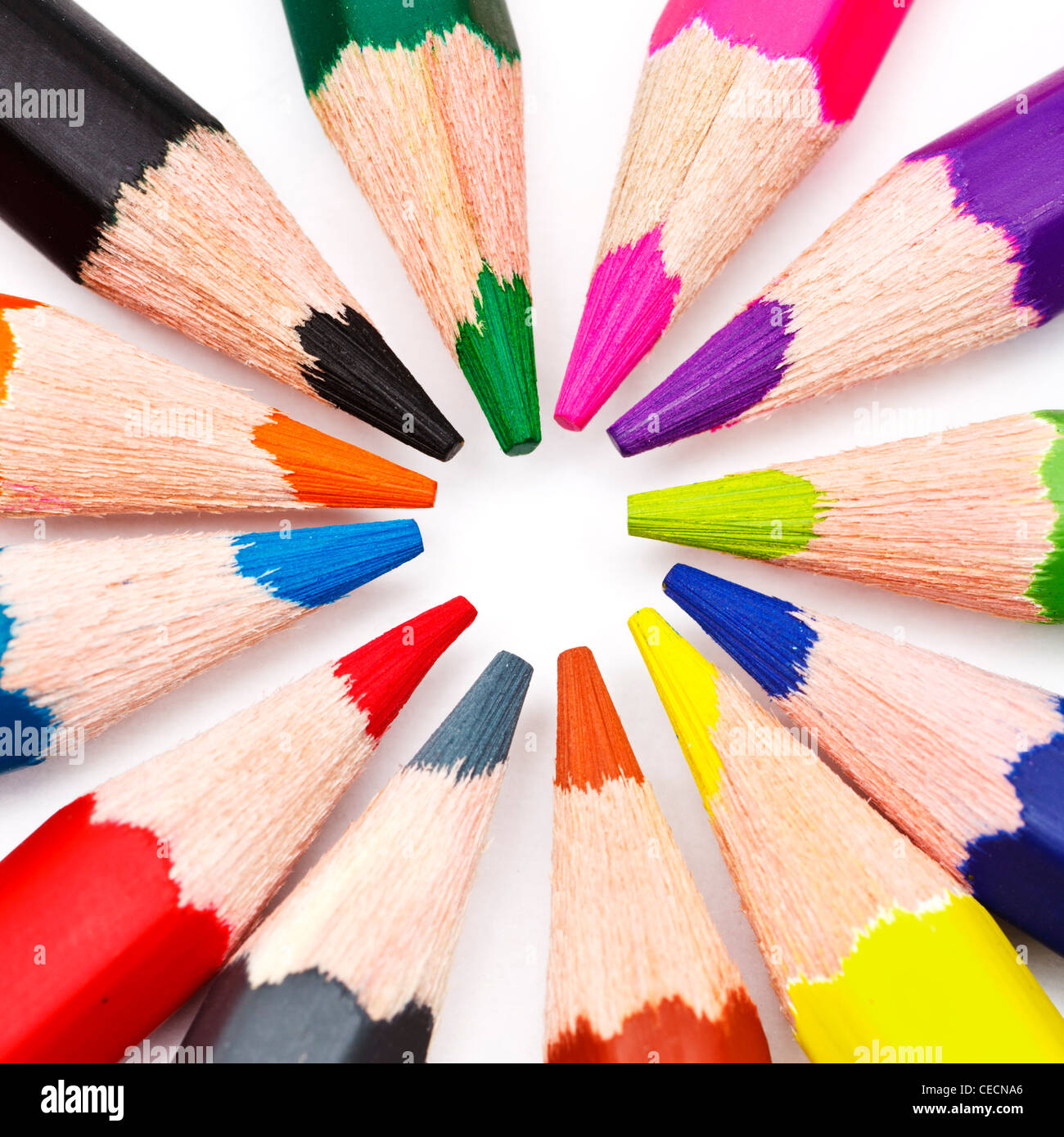 Group of coloured pencils - Stock Image