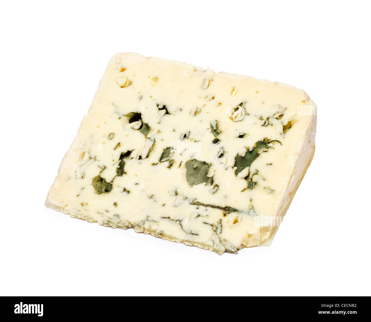 Blue cheese - Roquefort - on white background - Stock Image