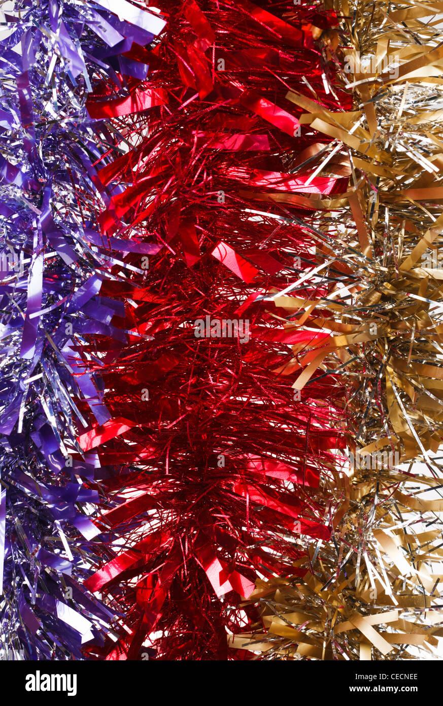 Christmas tinsel - Stock Image