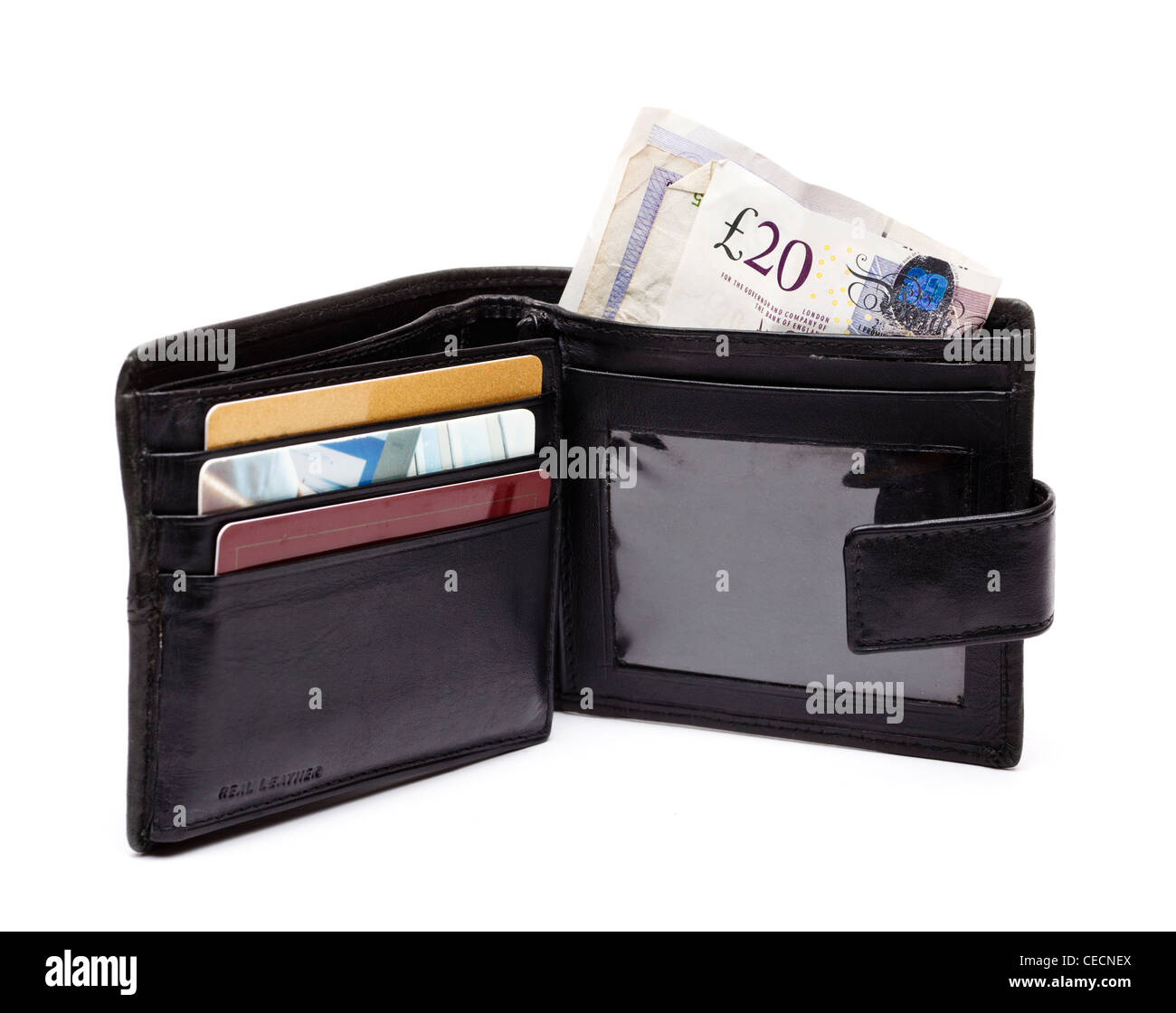 Money in an open wallet - British currency notes - on white background - Stock Image