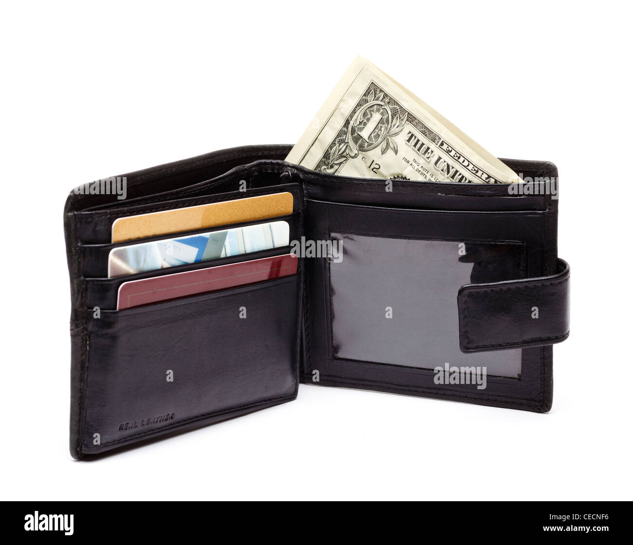 Wallet with dollars - on white background - Stock Image