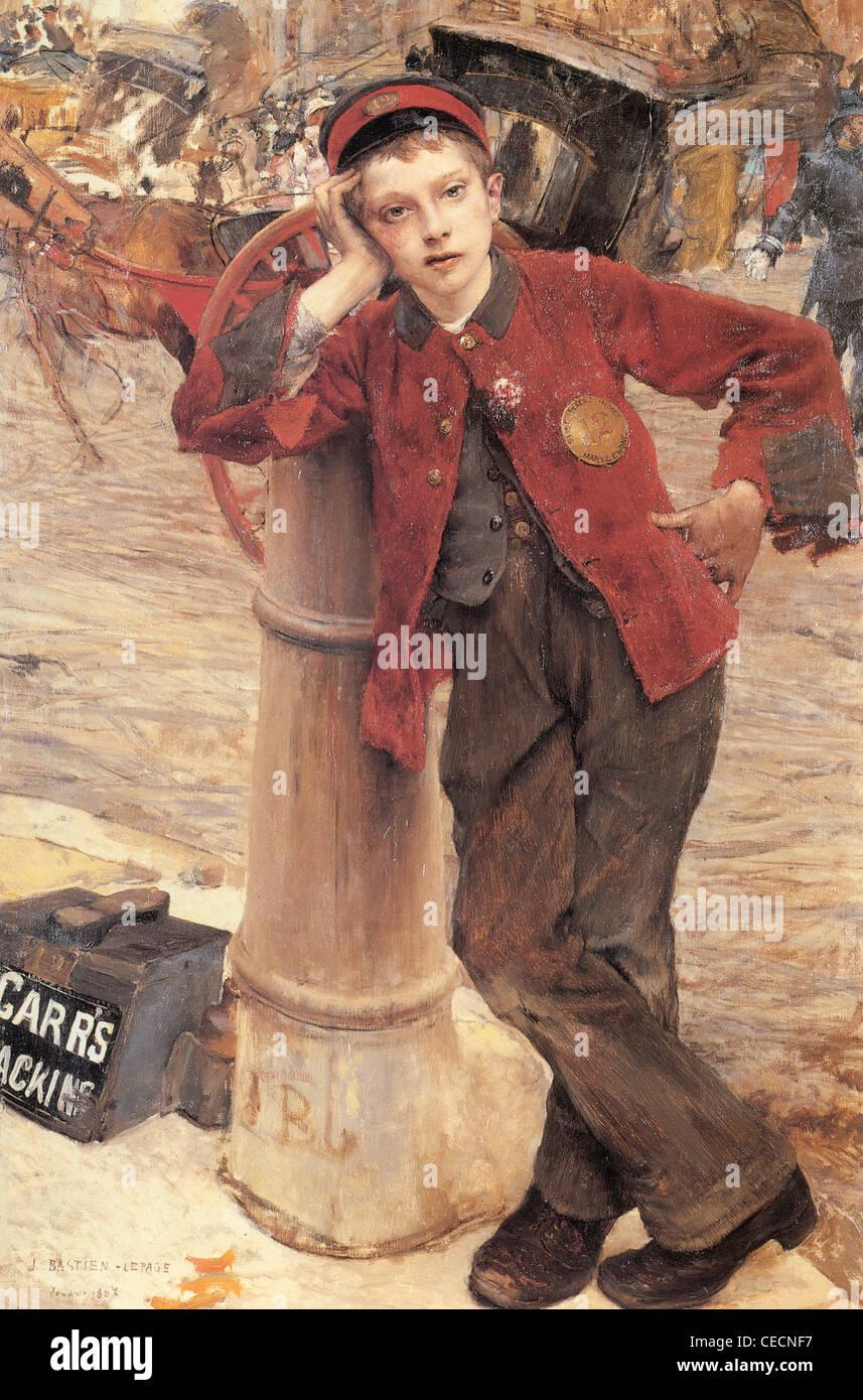 Jules Bastien-Lepage The london bootblack 1882 XIX th century - Stock Image