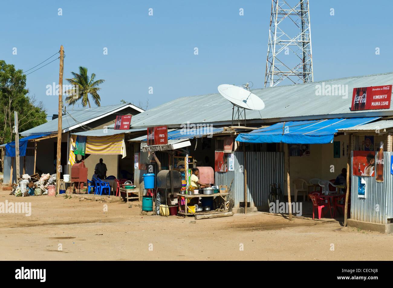 Small restaurant with satellite dish in Same Kilimanjaro Region Tanzania Stock Photo