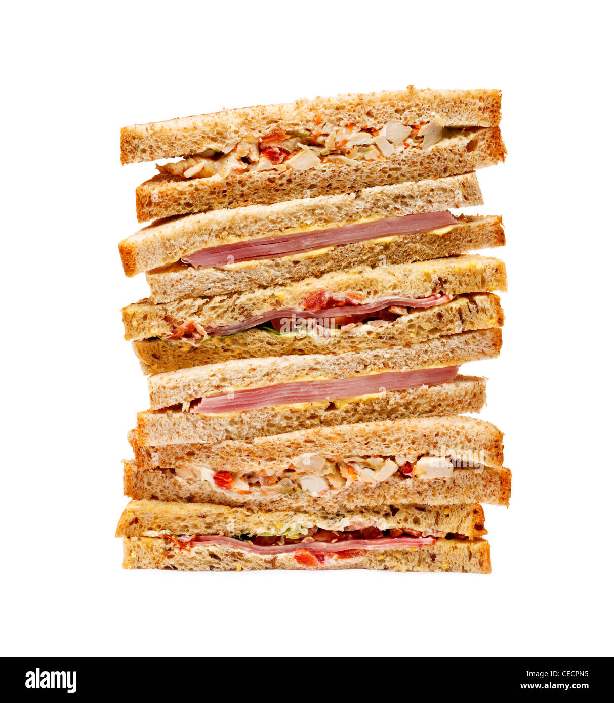 Sandwich stack on white background - Stock Image