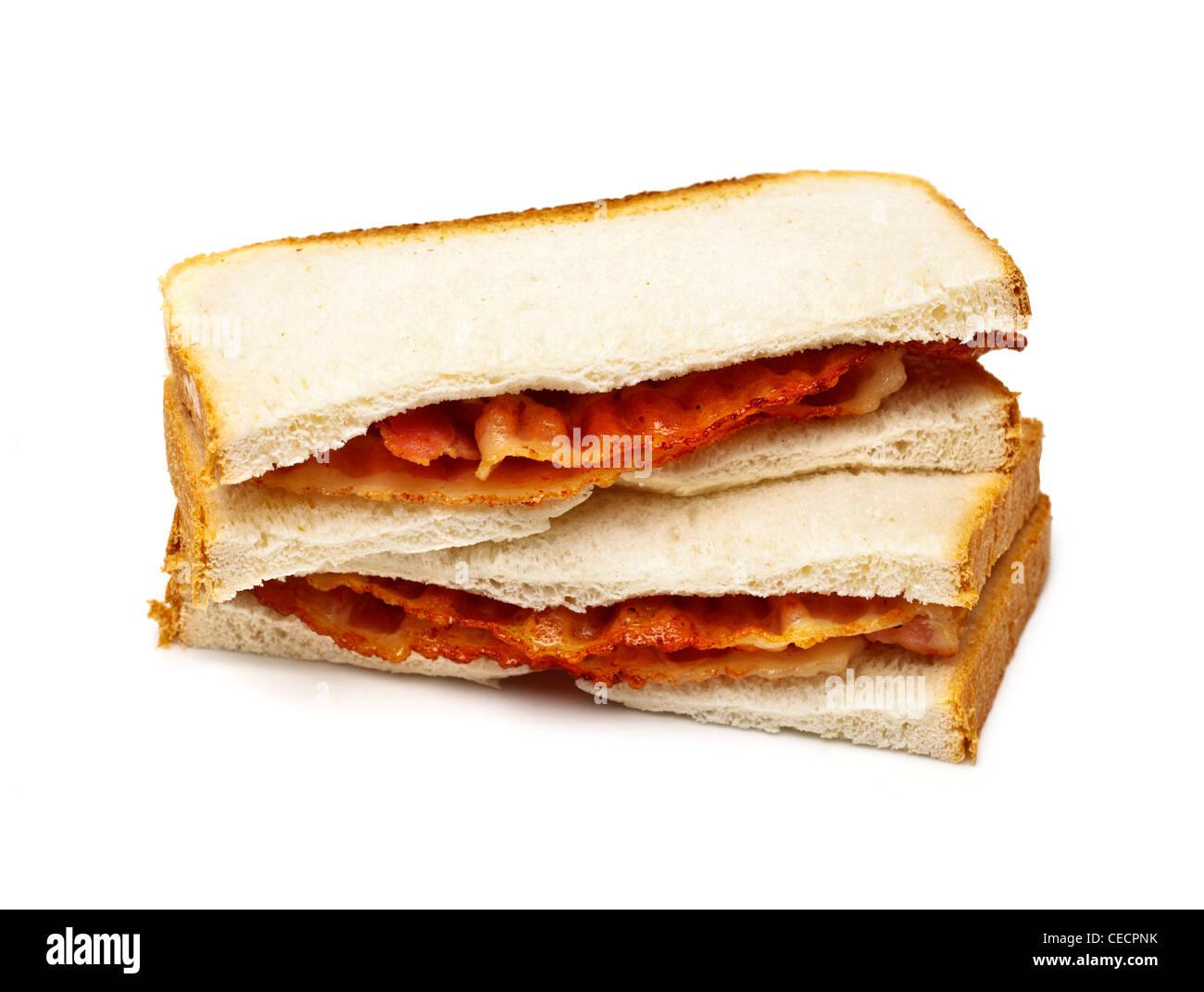 Bacon sandwich on white background - Stock Image