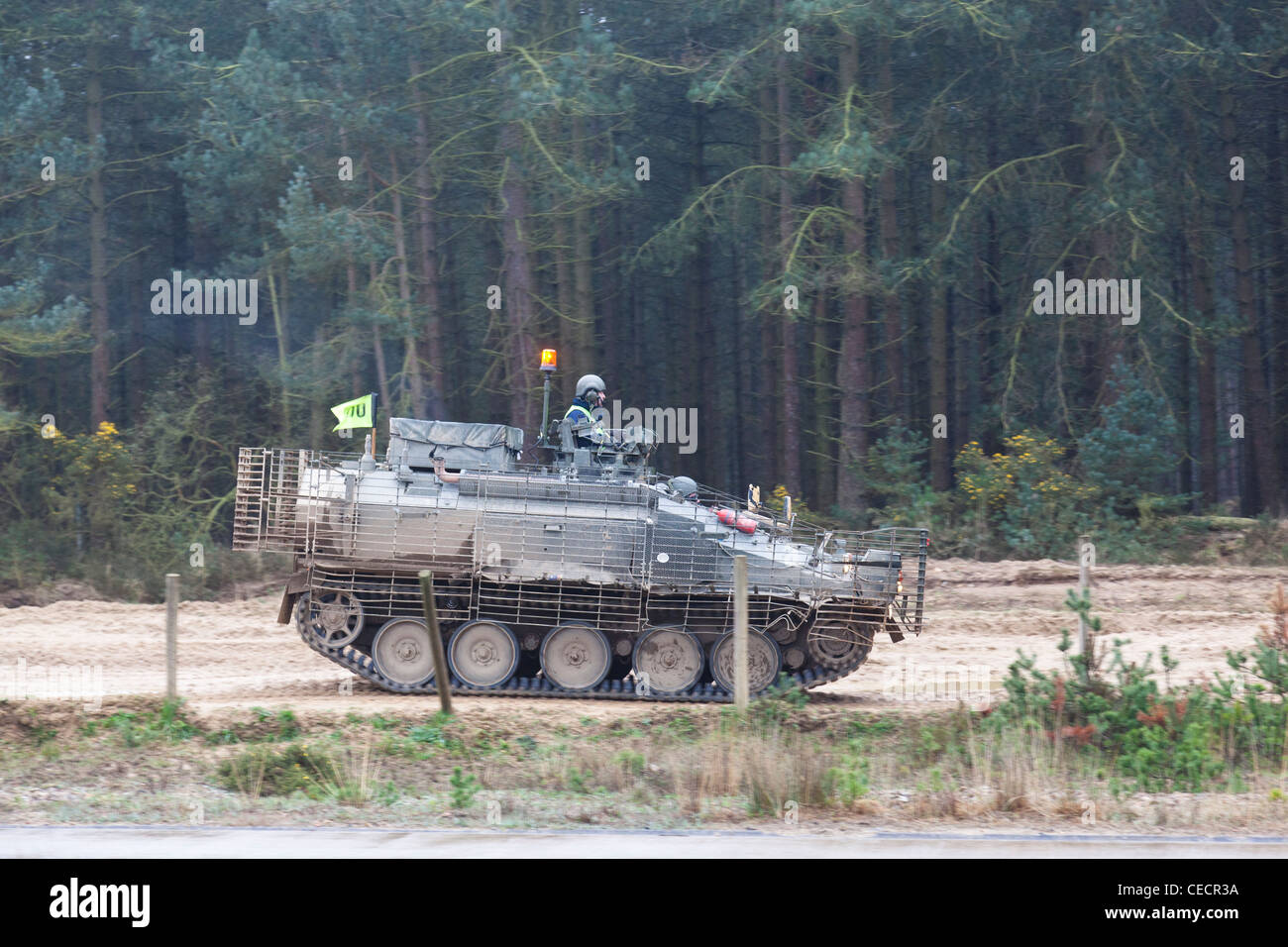 Tank during exercises on a training ground at Bovington Camp, Dorset, England. - Stock Image