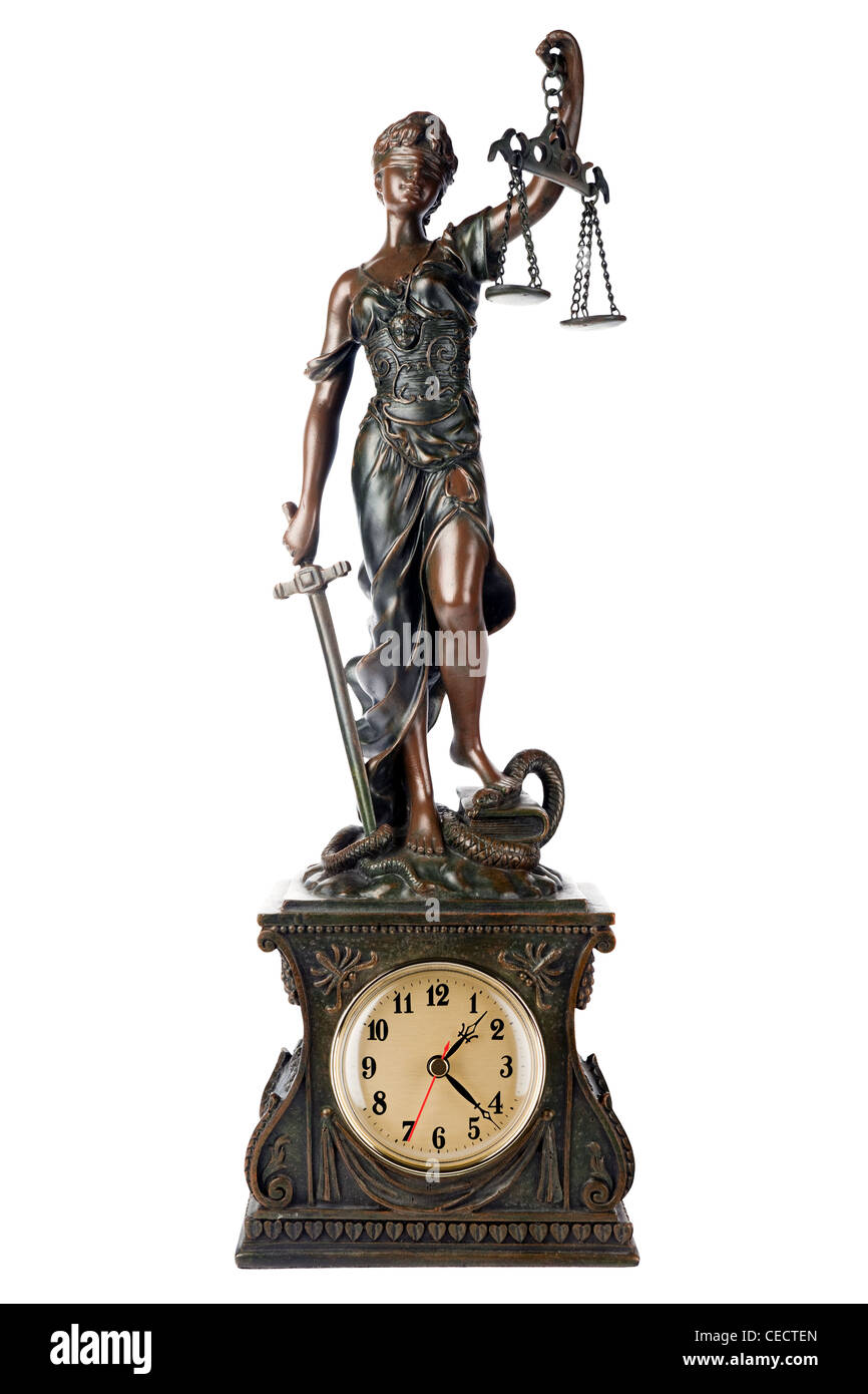 Closeup of a sculpture of Themis, mythological Greek goddess, symbol of justice, blind and holding empty balance - Stock Image