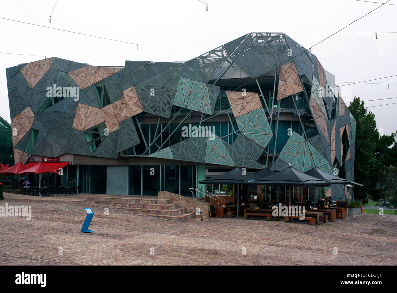 One of the quirky buildings in Federation Square, Melbourne - Stock Image