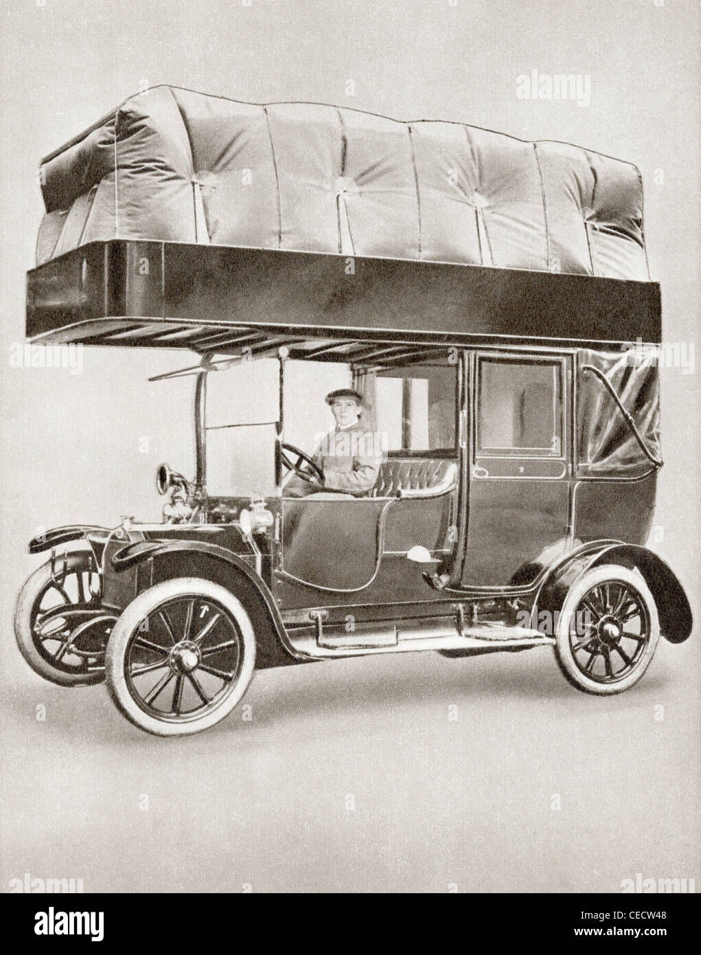 A Gas-bag taxi during World War I. - Stock Image