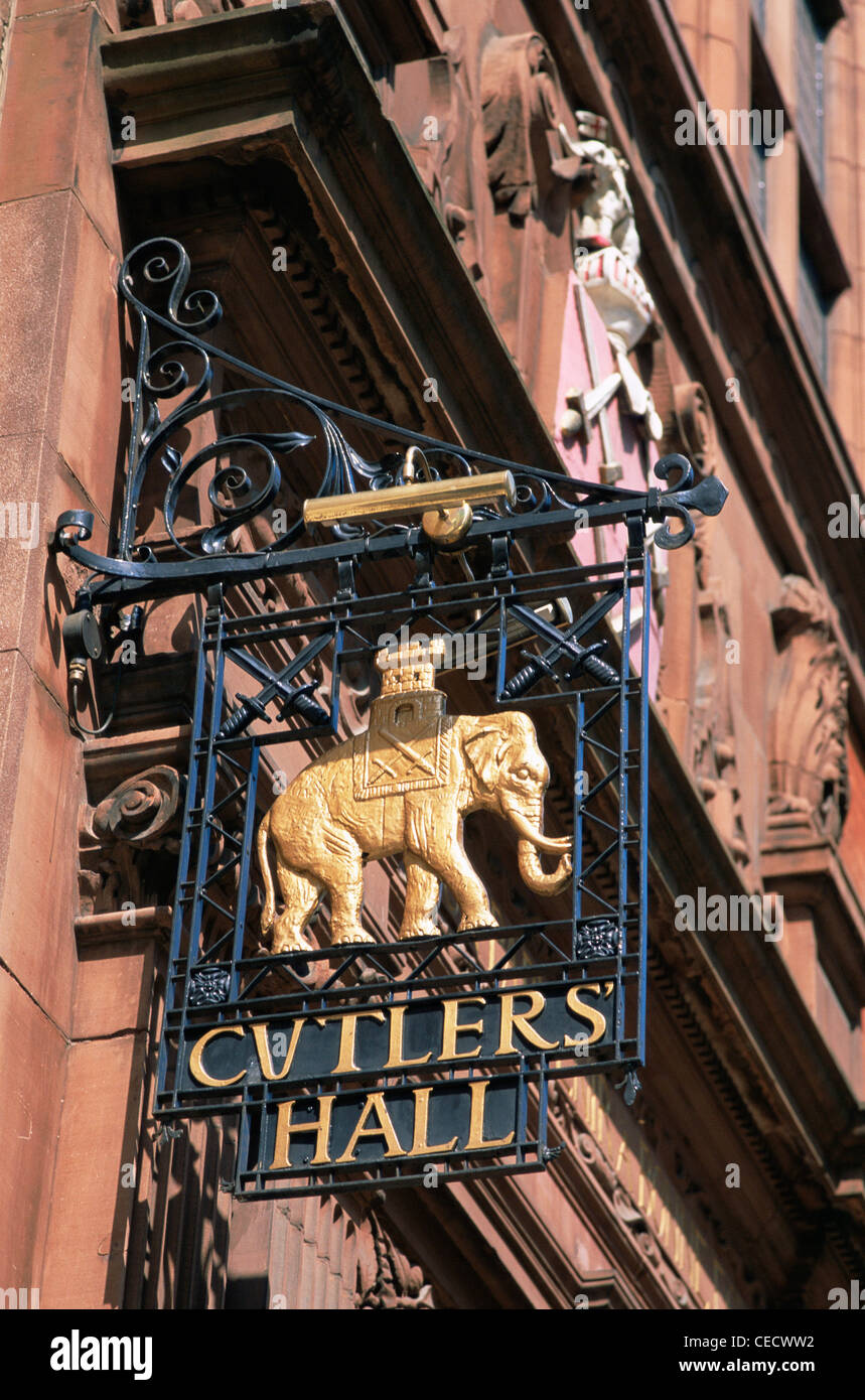England, London, The City, Cutlers Hall Sign Outside the Cutlers Livery Hall in Warwick Lane - Stock Image