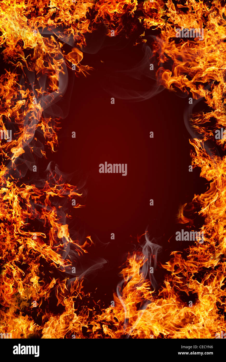 Fire frame with dark red center for text or object to be inserted - Stock Image
