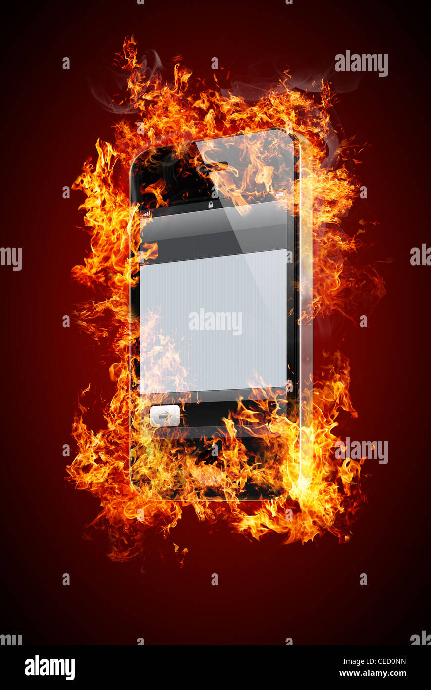 Phone without labels on fire - Stock Image