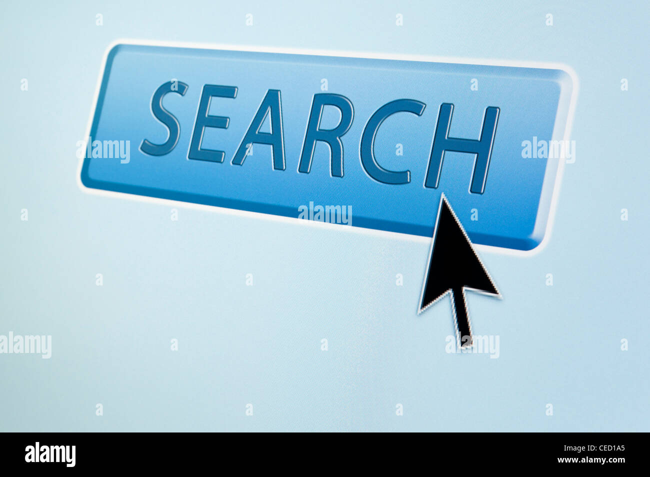 Cursor arrow hovers over an SEARCH button - Stock Image