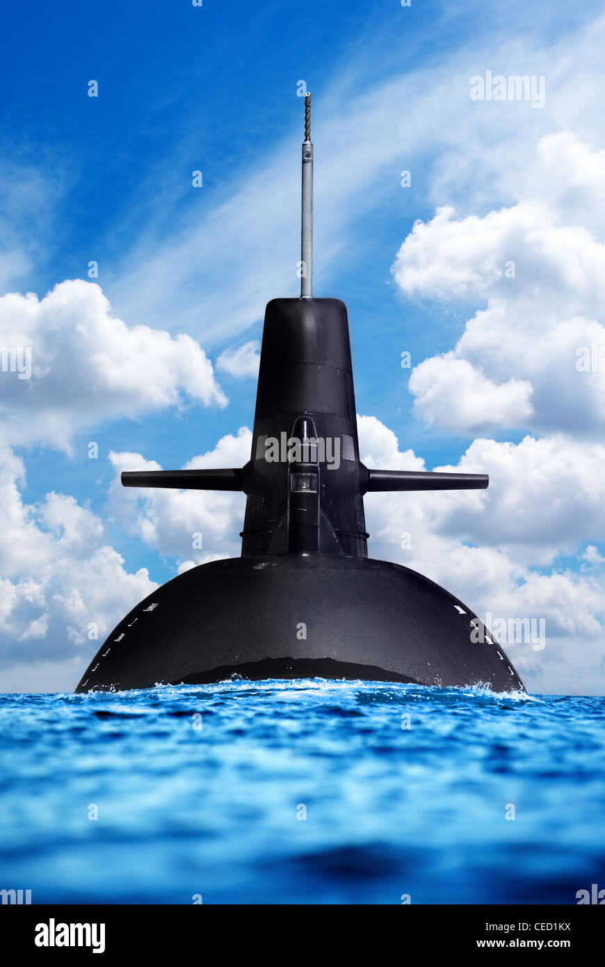 Army Forces and it's weapon on land, sea and air. Nuclear submarine in the ocean. - Stock Image
