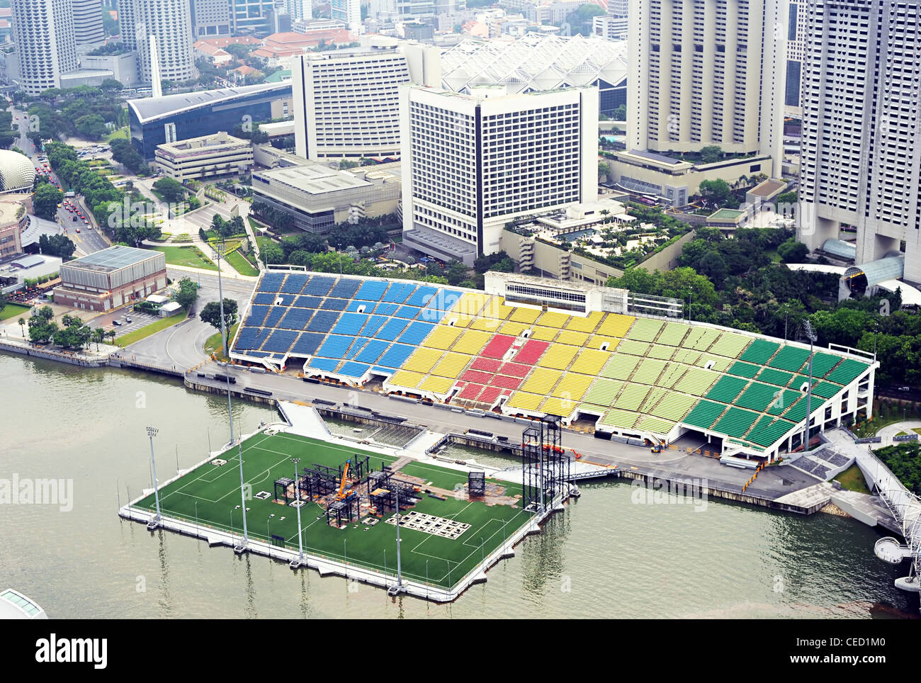 Aerial view of Singapore with construstion site of soccer stadium - Stock Image