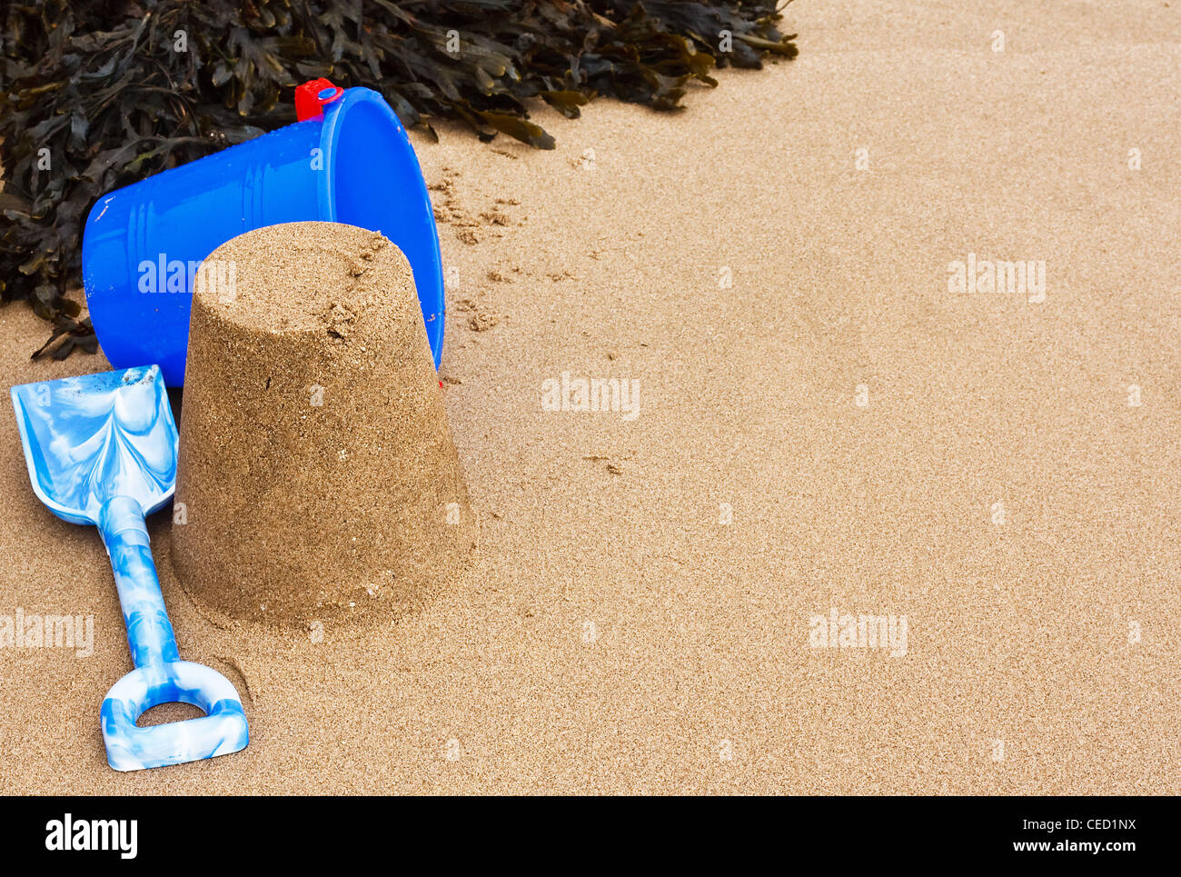 Bucket and spade and Sandcastle on the beach with seaweed, good frame with copy space or text area - Stock Image