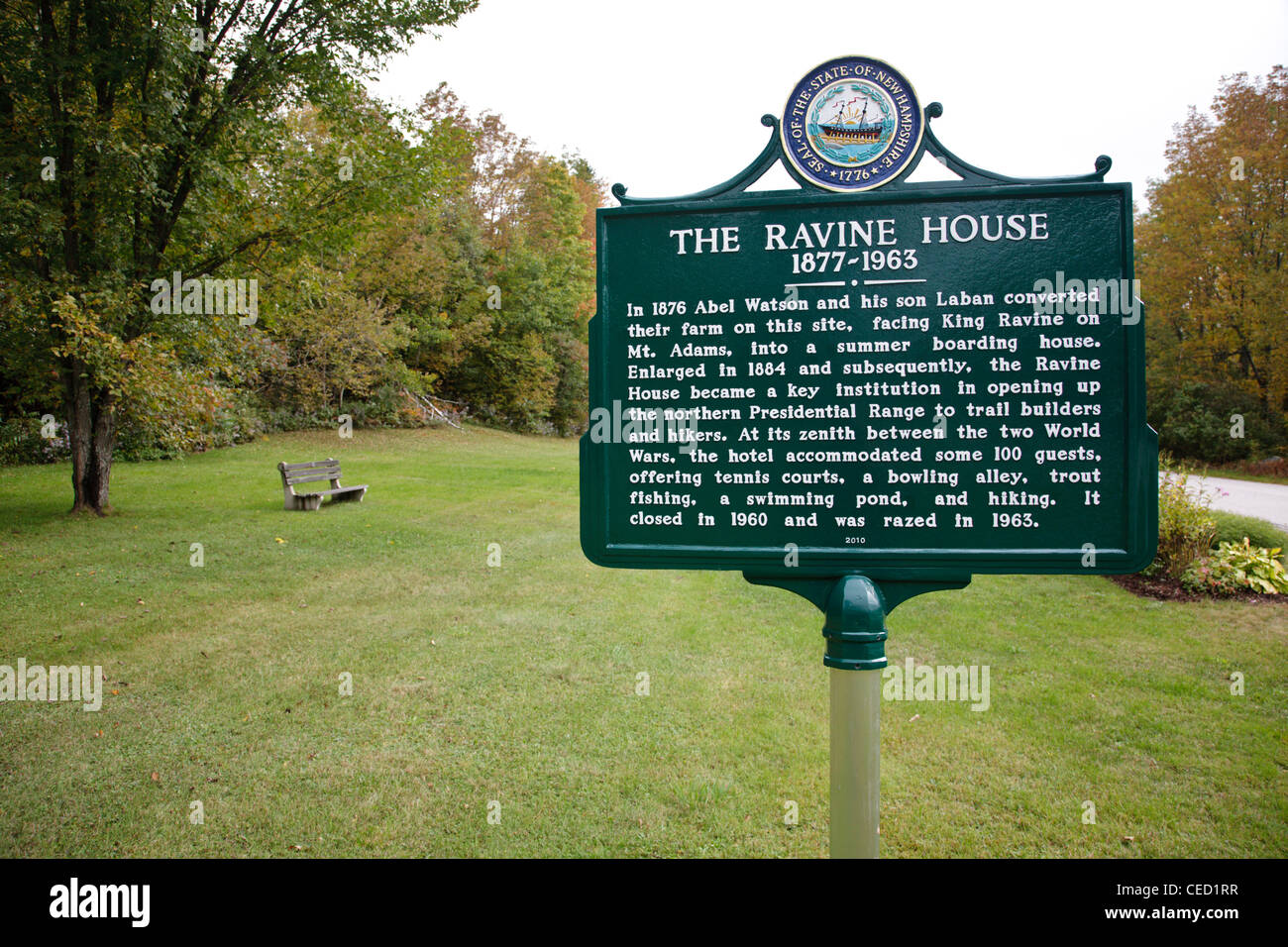 The Ravine House Site (1877 - 1963) in Randolph, New Hampshire. Closed in 1960 and was razed in 1963 - Stock Image