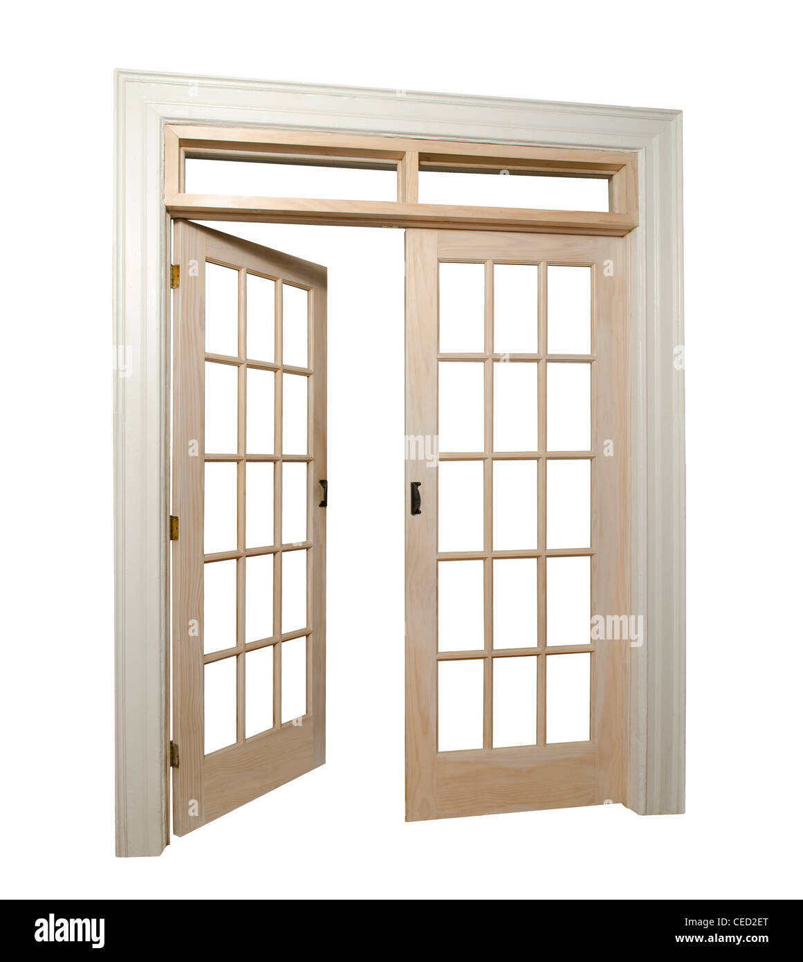 isolated french doors with one door open - Stock Image