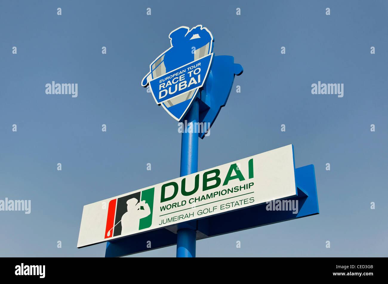Logo of the European Tour, Race to Dubai, World Golf Championship Final, Jumeirah Golf Estates, Dubai, United Arab - Stock Image