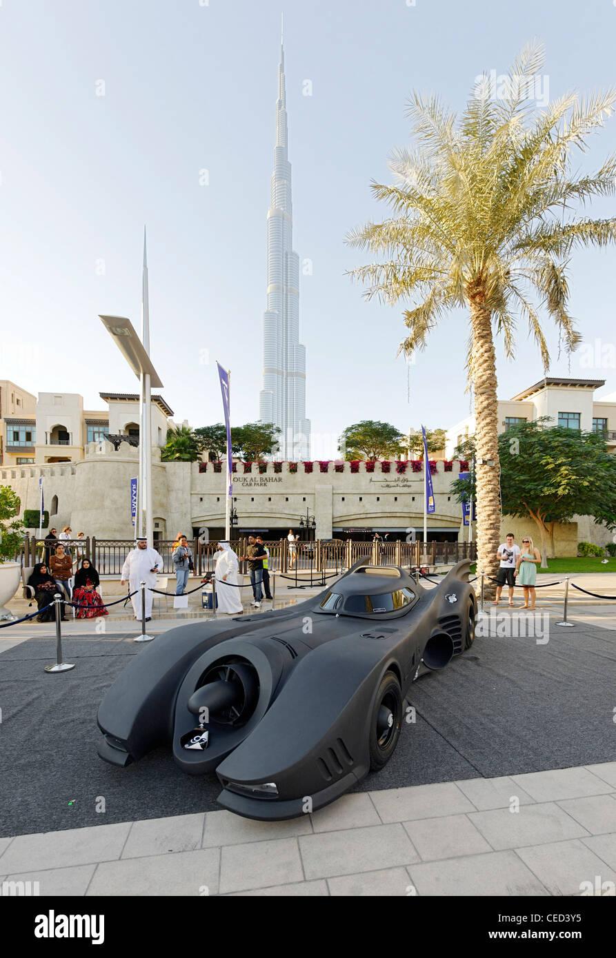 Batmobile, car from the film Batman at the Dubai Classic Motor Show - Stock Image