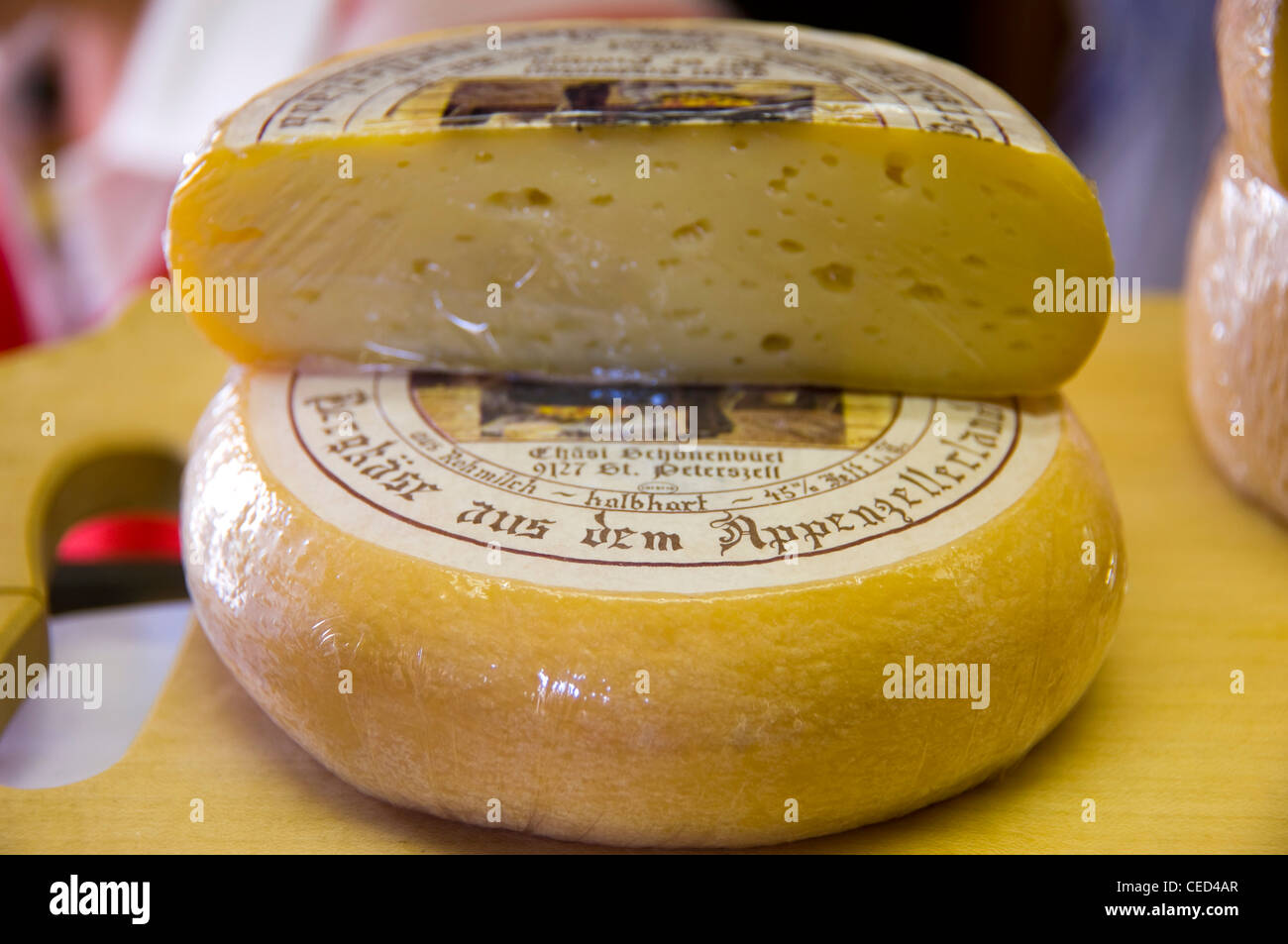 Horizontal Close Up Of Traditional Appenzeller Cheese On