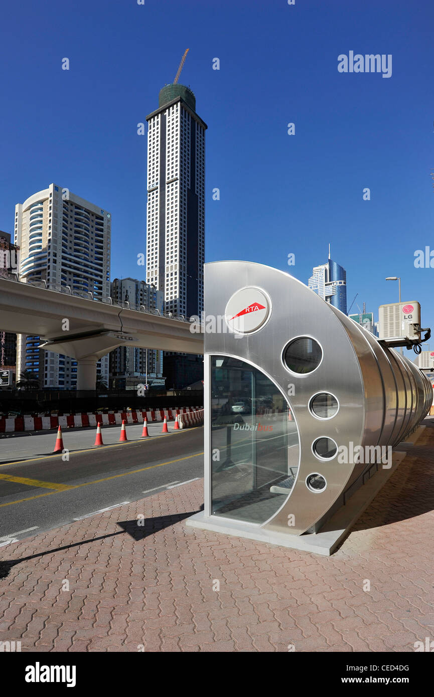 Air-conditioned bus stop of the RTA, modern architecture, Financial District, Dubai, United Arab Emirates, Middle - Stock Image
