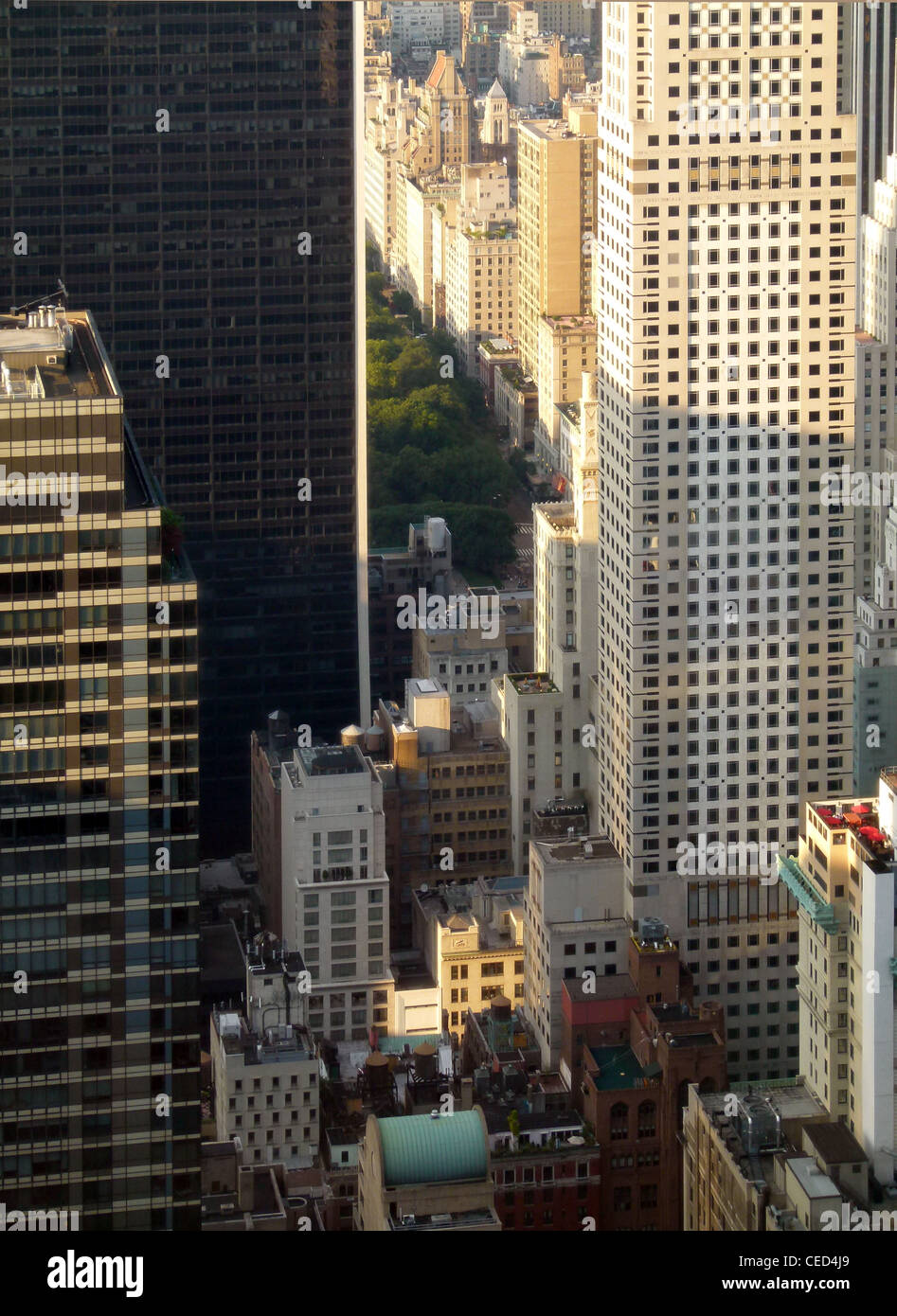 Highrise buildings and urban landscape in Manhattan – view from Rockefeller Center north east to Central Park - Stock Image