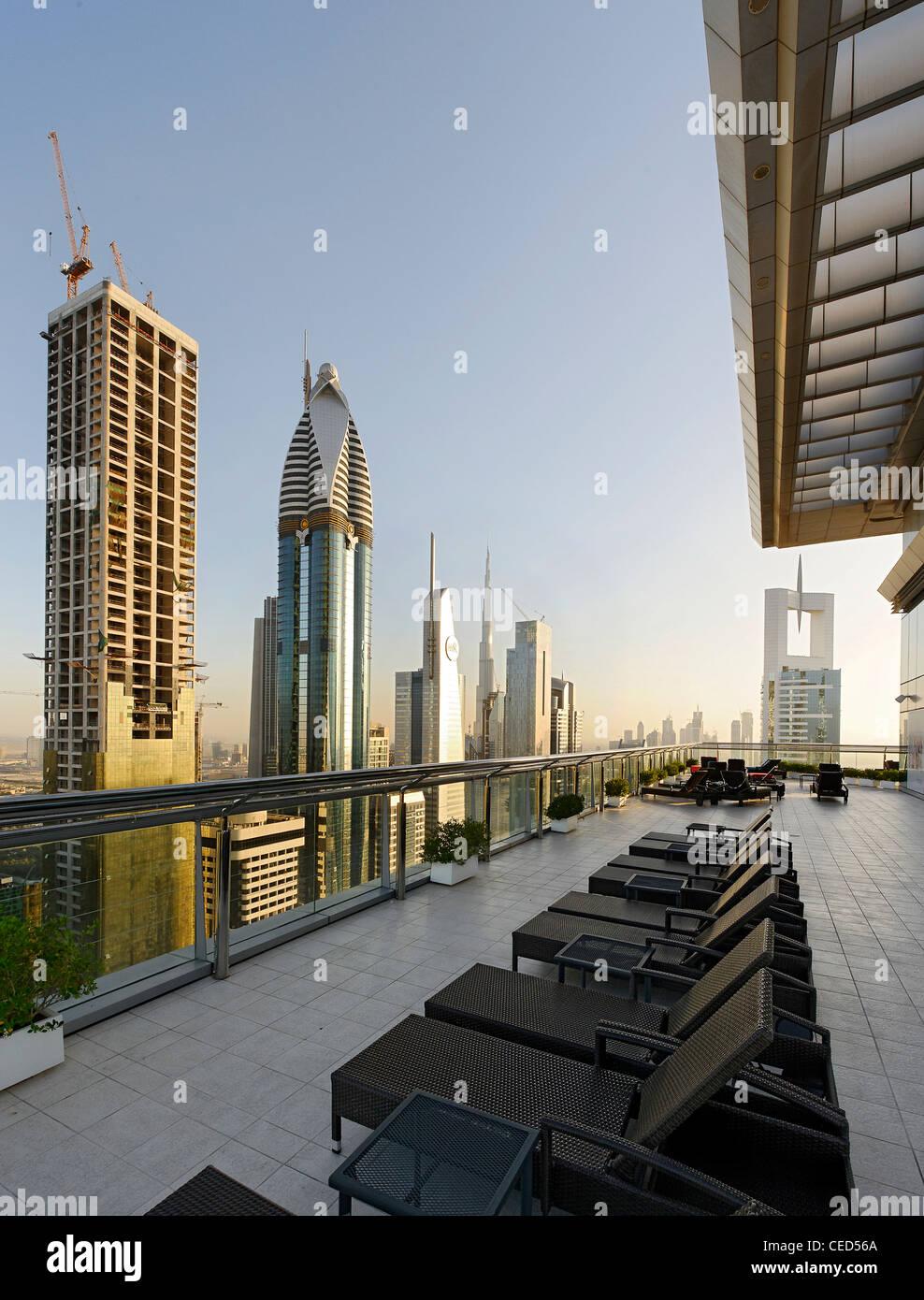 Roof-deck of a hotel, downtown Dubai, Dubai, United Arab Emirates, Middle East - Stock Image