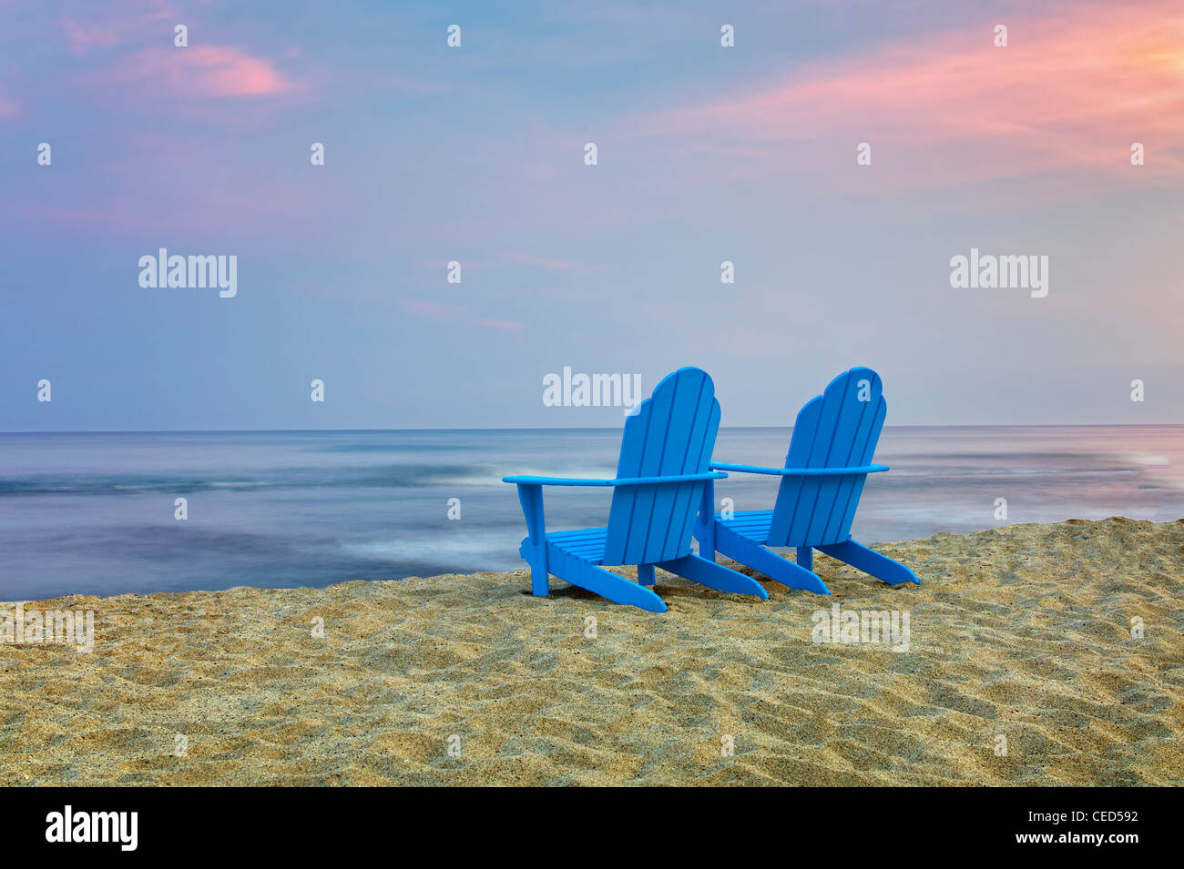 Two Adirondack Chairs On Beach. Hawaii, The Big Island   Stock Image