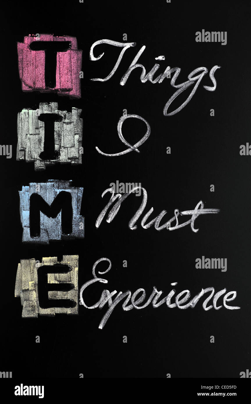 Acronym of time for Things I must experience - Stock Image