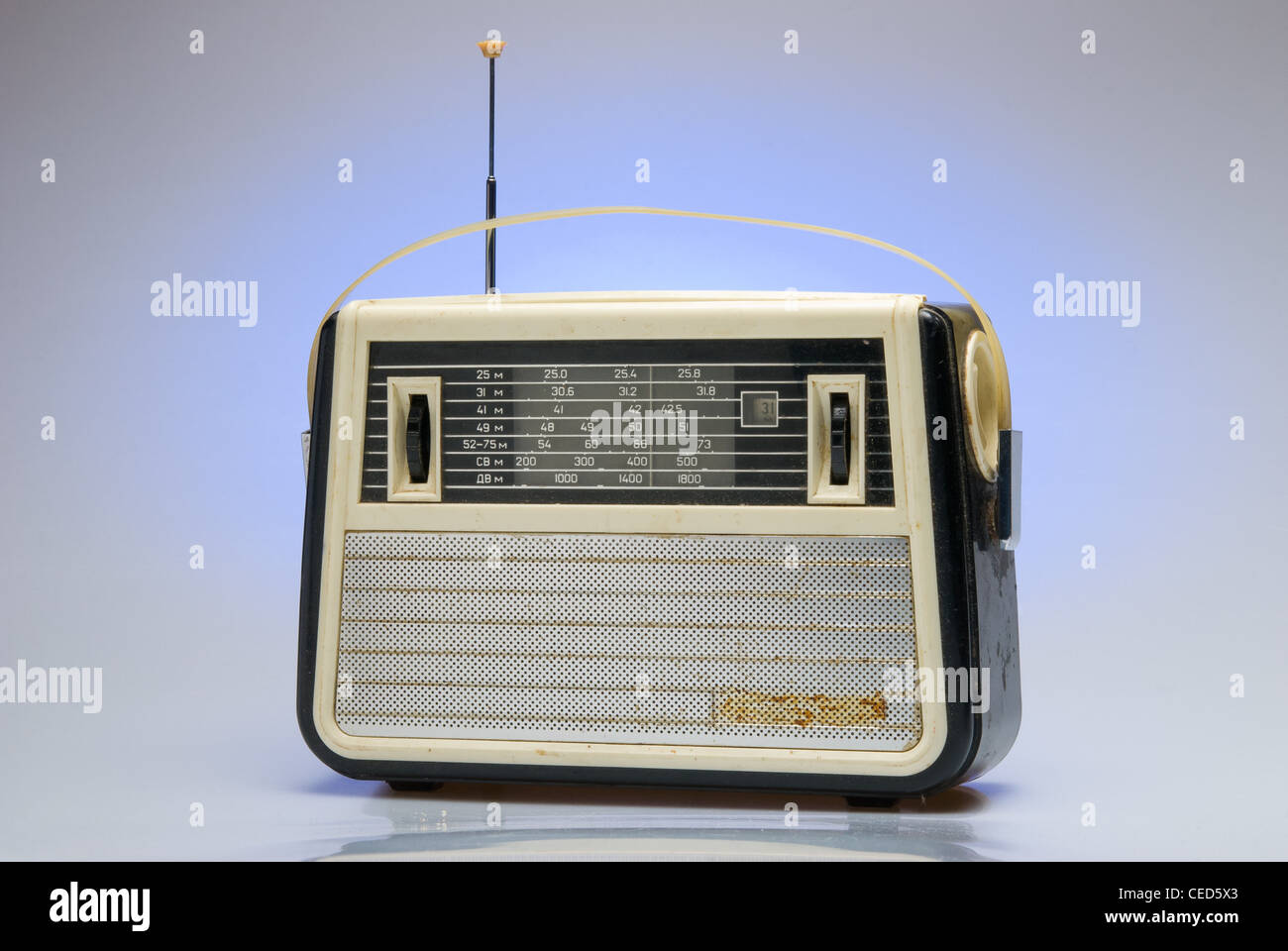 Old-fashioned soviet personal radio receiver. - Stock Image