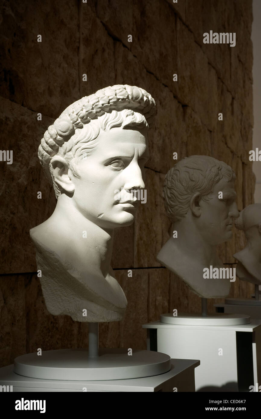 Busts of Roman Emperors, Ara Pacis Augustae, Rome, Lazio, Italy - Stock Image