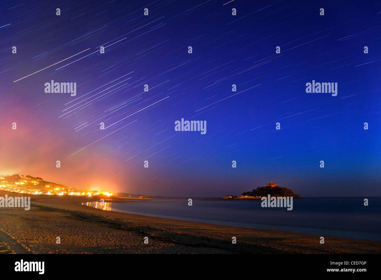 St Michael's Mount; by starlight; Cornwall; UK - Stock Image