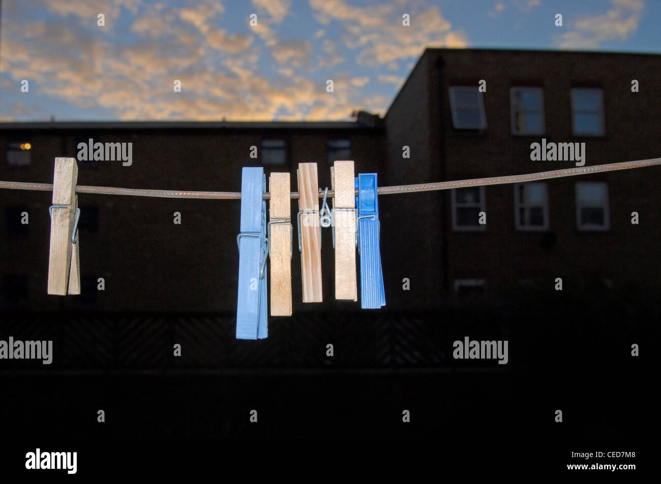 London east end, Skyline,Clothes line,Clothes pegs,Colorful,Urban,Housing, Stock Photo