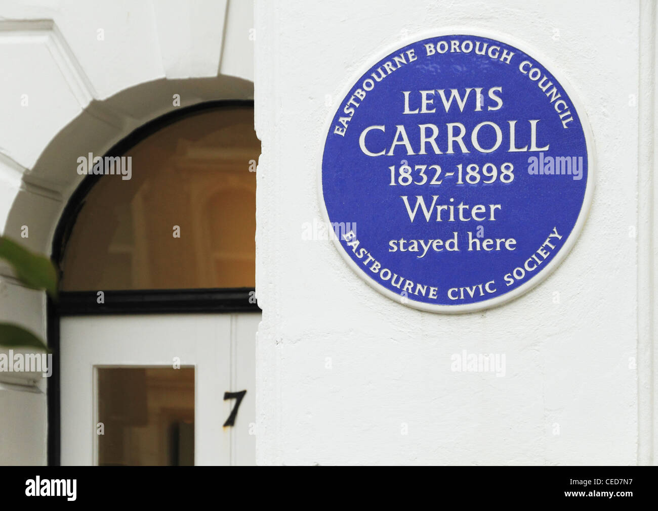 Lewis Carroll author writer UK British blue plaque Eastbourne east Sussex England - Stock Image