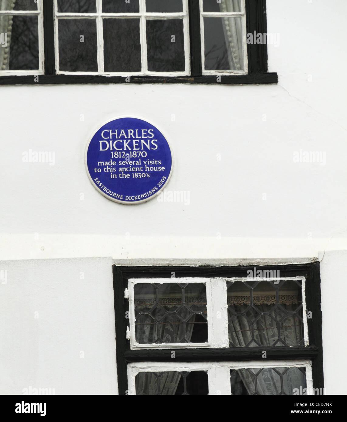 Lewis Carroll author writer UK British blue plaque Eastbourne east Sussex England - Stock Image