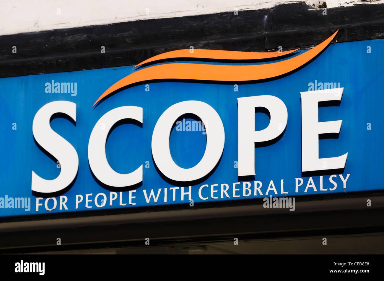 Scope Cerebral Palsy Charity Shop Sign Logo, Cambridge, England, UK - Stock Image