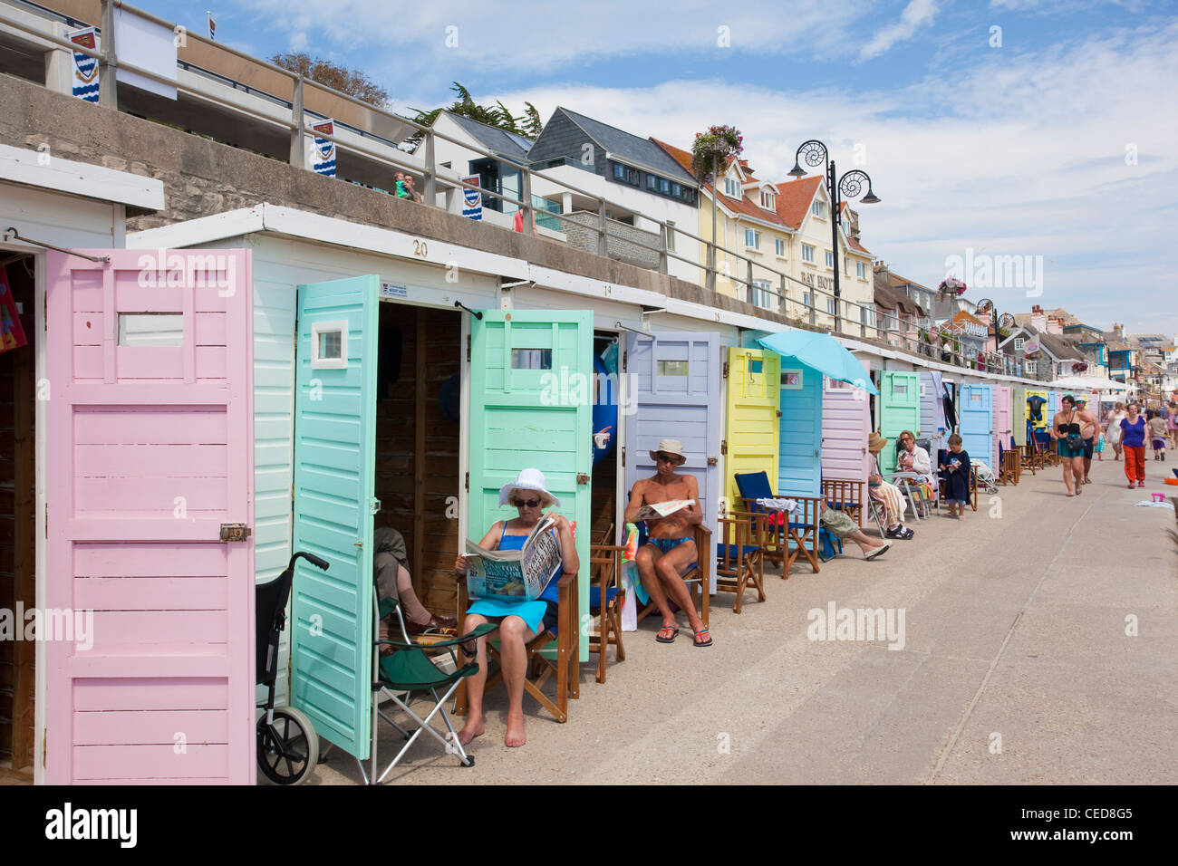 The Cobb Gate Fish Bar and The Rock Point Inn at Lyme Regis, Dorset, England. - Stock Image