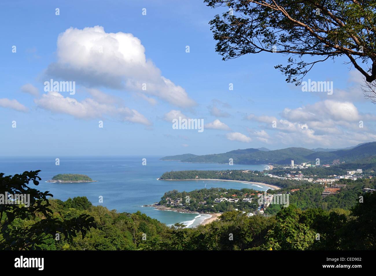 View of the bays of Kata Beach and Karon, Phuket, Southern Thailand, Thailand, Southeast Asia - Stock Image