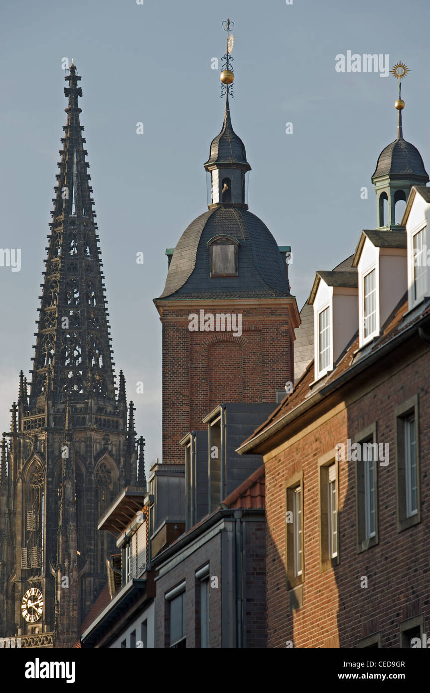 The spire of Munster cathedral Germany - Stock Image