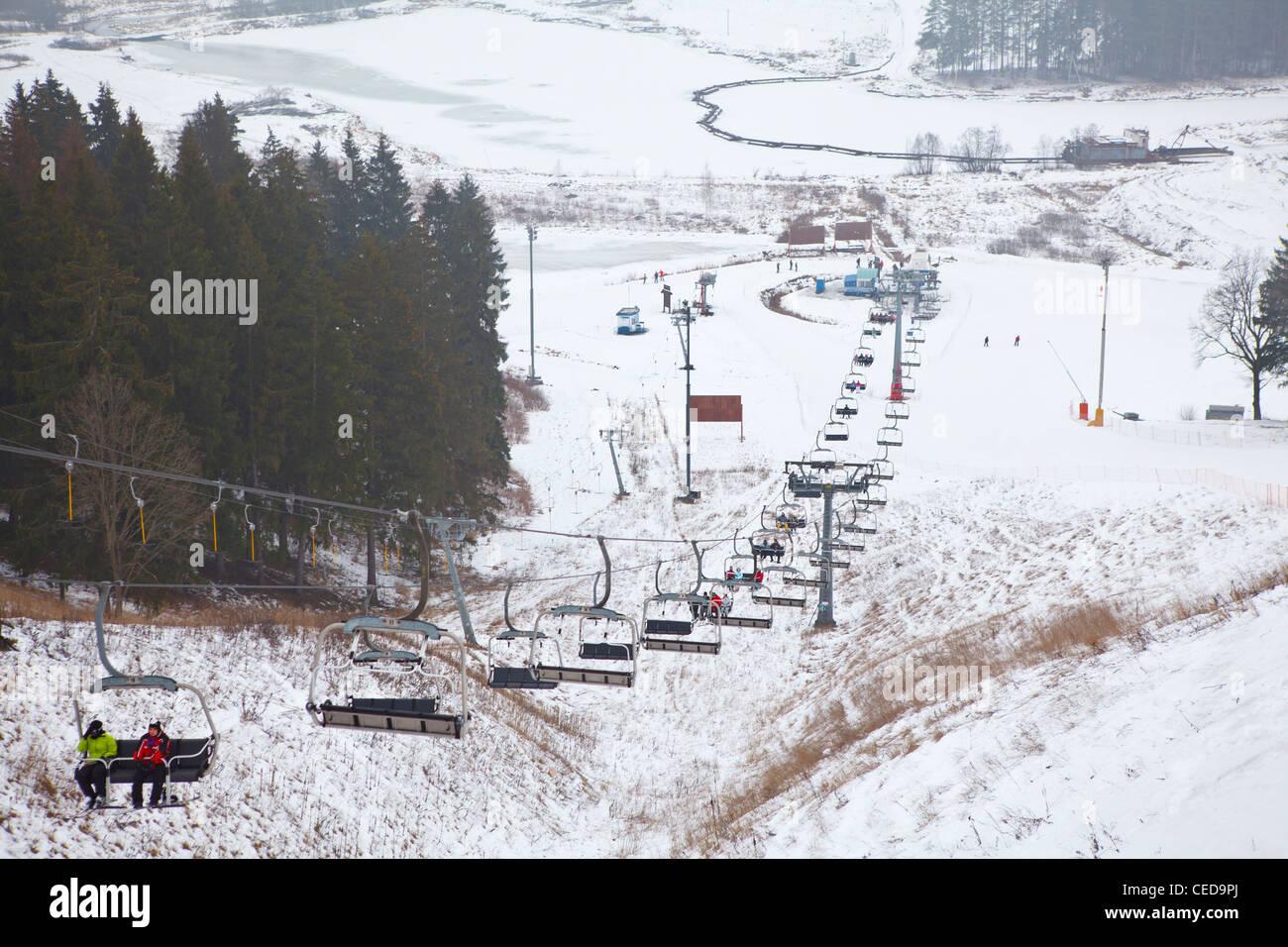 russian ski resorts sorochany in winter season with resting people