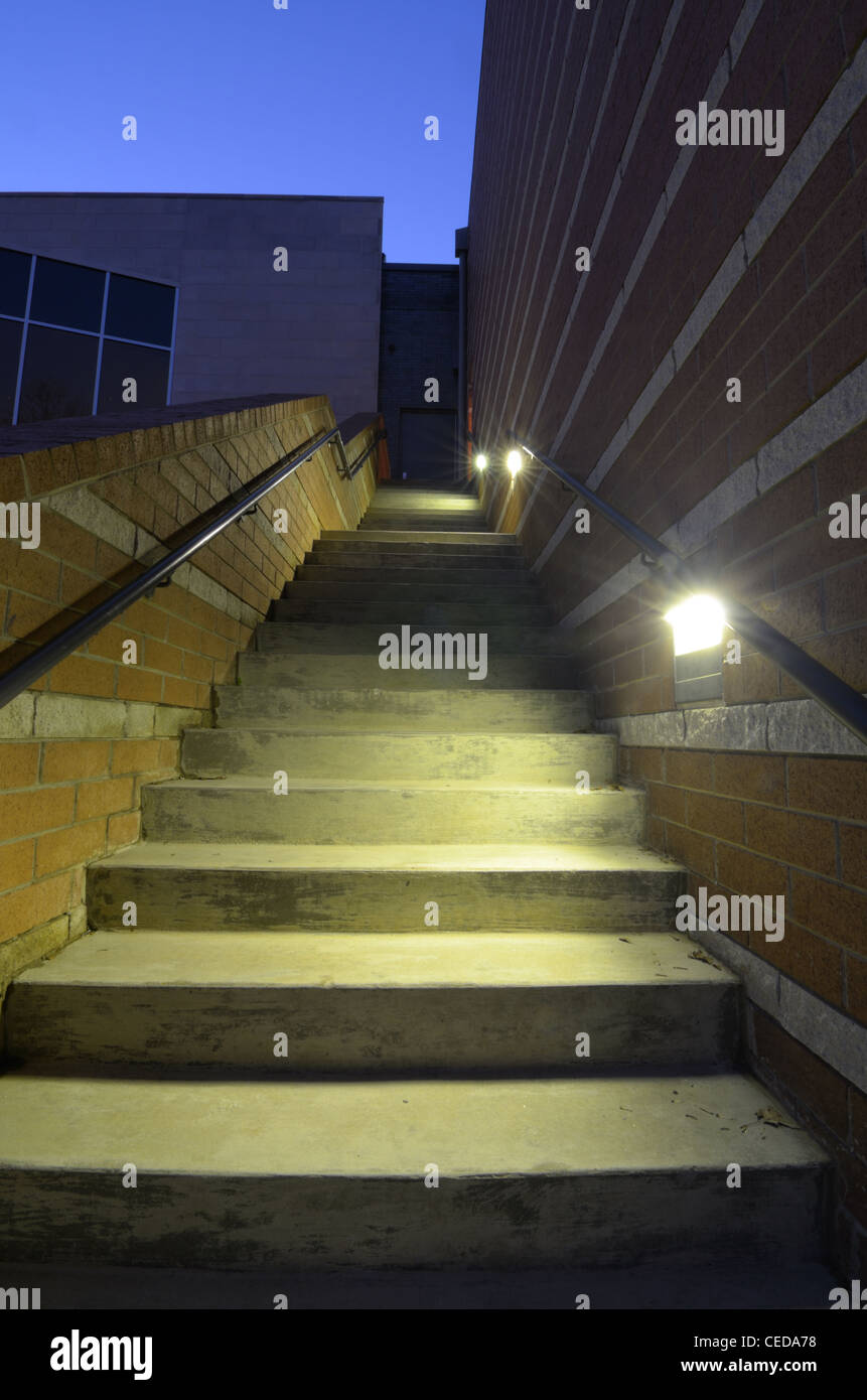 An exterior stair case with lighting - Stock Image