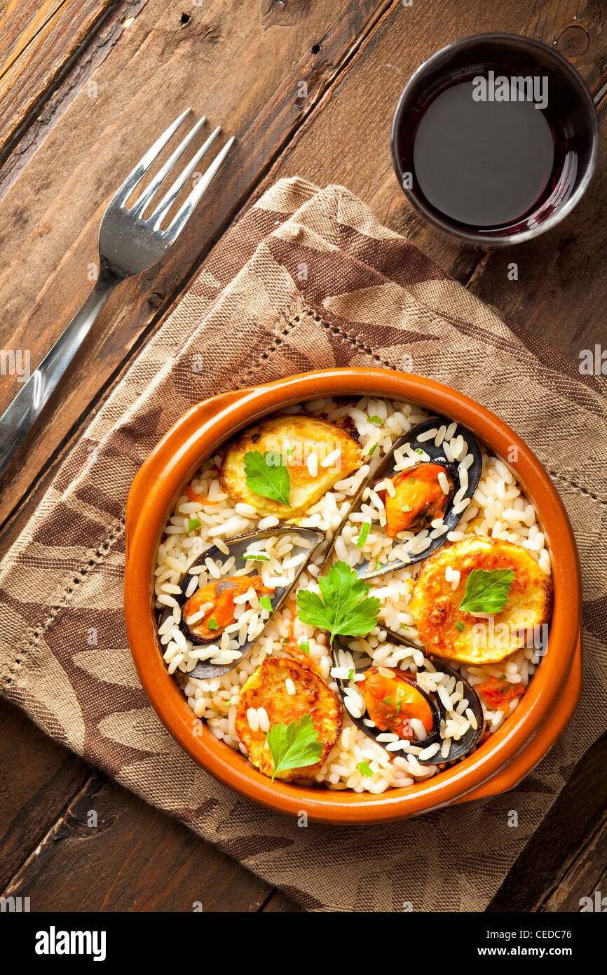 Rice with Potatoes and Mussels, a Traditional Dish from Apulia, Italy - Stock Image